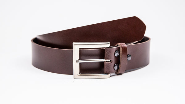 Genuine Dark Brown Leather Jeans Belt - Square Satin Silver Buckle - Worldbelts Ltd