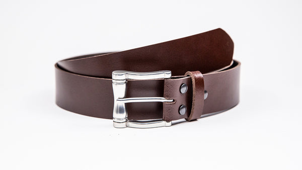 Genuine Dark Brown Leather Jeans Belt - Chunky Satin Silver Buckle - Worldbelts Ltd