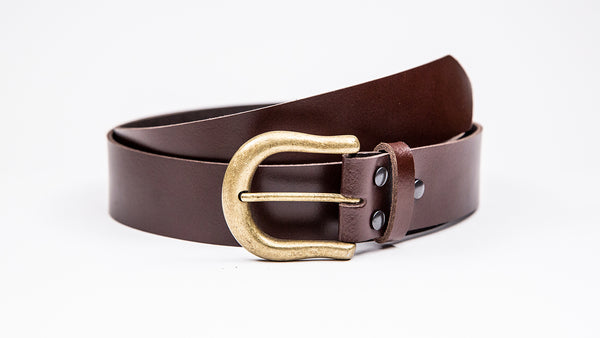 Genuine Dark Brown Leather Jeans Belt - Round Gold Buckle - Worldbelts Ltd