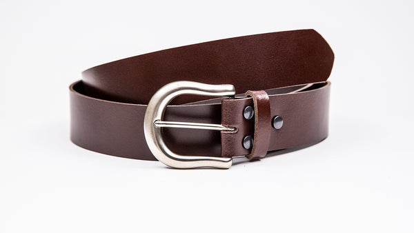 Genuine Dark Brown Leather Jeans Belt - Round Satin Silver Buckle - Worldbelts Ltd