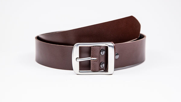 Genuine Dark Brown Leather Jeans Belt - Full Satin Silver Buckle - Worldbelts Ltd