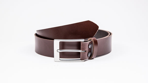 Genuine Dark Brown Leather Chinos Belt - Rectangular Satin Silver Buckle - Worldbelts Ltd