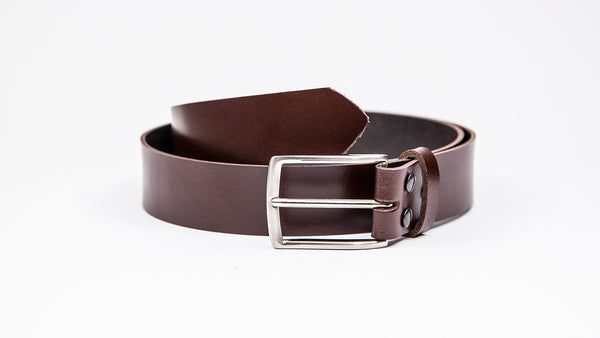 Genuine Dark Brown Leather Chinos Belt - Thin Rectangular Chrome Buckle - Worldbelts Ltd