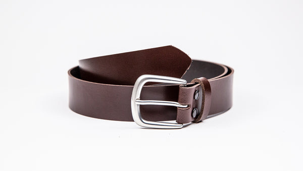 Genuine Dark Brown Leather Chinos Belt - Round Satin Silver Buckle - Worldbelts Ltd
