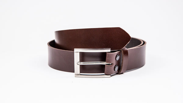 Genuine Dark Brown Leather Chinos Belt - Rectangular Chrome Buckle
