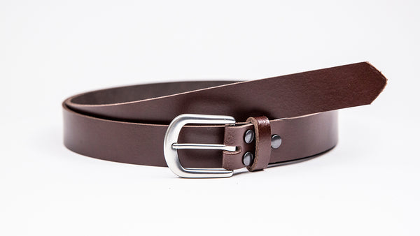 Dark Brown Leather Suit Belt - Round Satin Buckle - Worldbelts Ltd