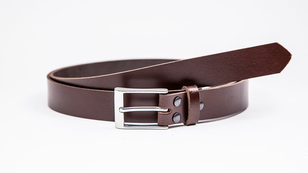 Dark Brown Leather Suit Belt - Rectangular Satin Buckle - Worldbelts Ltd
