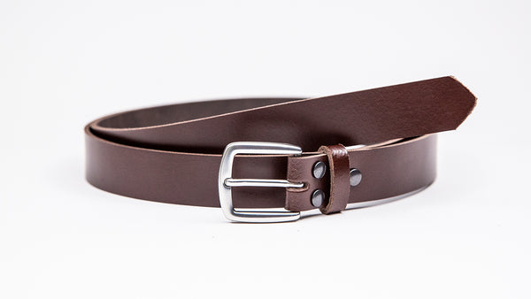 Dark Brown Leather Suit Belt - Round/Square Satin Buckle