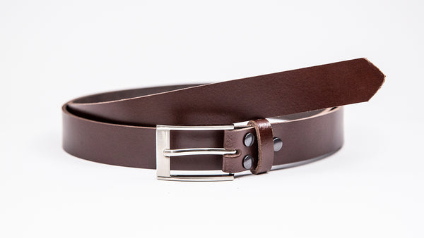 Dark Brown Leather Suit Belt - Rectangular Chrome Buckle - Worldbelts Ltd