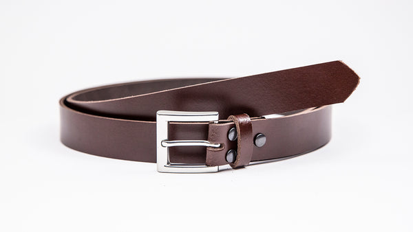 Dark Brown Leather Suit Belt - Square Satin Buckle - Worldbelts Ltd