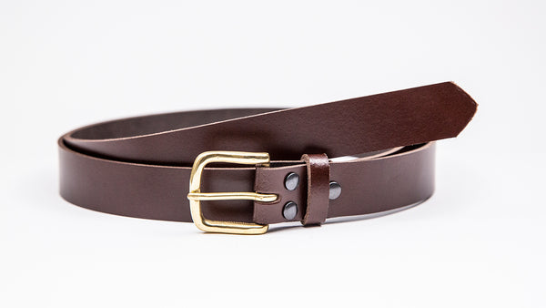 Dark Brown Leather Suit Belt - Square Brass Buckle
