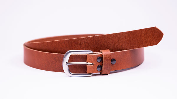 Tan Leather Suit Belt - Round Satin Buckle - Worldbelts Ltd