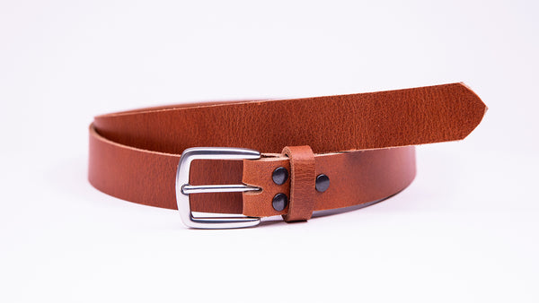 Tan Leather Suit Belt - Round/Square Satin Buckle - Worldbelts Ltd