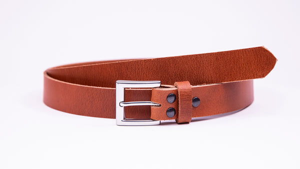 Tan Leather Suit Belt - Square Satin Buckle - Worldbelts Ltd