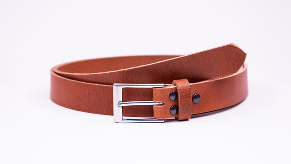 Tan Leather Suit Belt - Rectangular Satin Buckle - Worldbelts Ltd