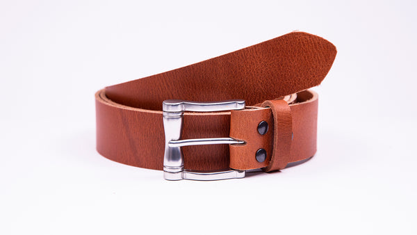 Genuine Tan Leather Jeans Belt - Chunky Satin Silver Buckle - Worldbelts Ltd