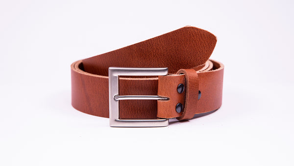 Genuine Tan Leather Jeans Belt - Square Satin Silver Buckle - Worldbelts Ltd