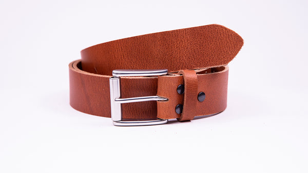 Genuine Tan Leather Jeans Belt - Roller Satin Silver Buckle - Worldbelts Ltd