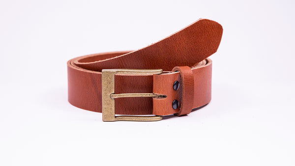 Genuine Tan Leather Jeans Belt - Rectangular Gold Buckle