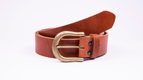 Genuine Tan Leather Jeans Belt - Round Gold Buckle - Worldbelts Ltd