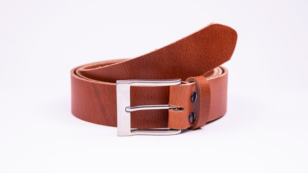 Genuine Tan Leather Jeans Belt - Rectangular Satin Silver Buckle - Worldbelts Ltd