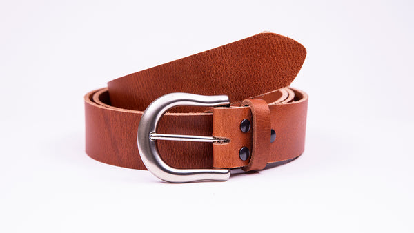 Genuine Tan Leather Jeans Belt - Round Satin Silver Buckle
