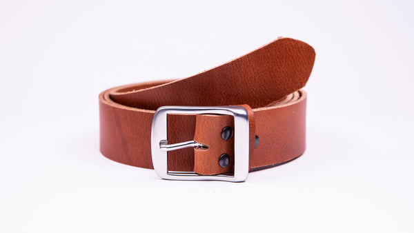 Genuine Tan Leather Jeans Belt - Full Satin Silver Buckle - Worldbelts Ltd