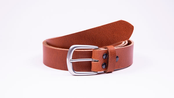 Genuine Tan Leather Chinos Belt - Round Satin Silver Buckle