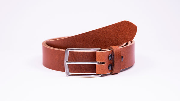 Genuine Tan Leather Chinos Belt - Thin Rectangular Chrome Buckle - Worldbelts Ltd