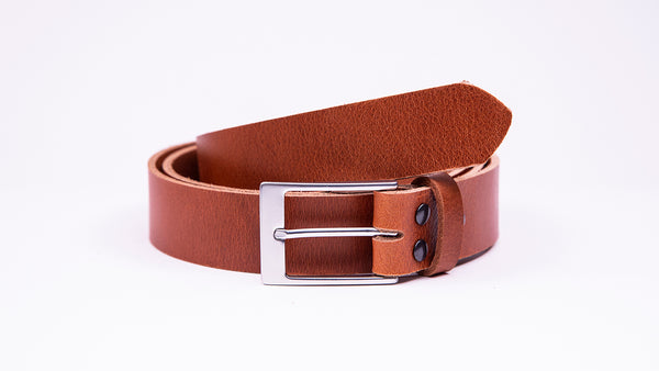 Genuine Tan Leather Chinos Belt - Rectangular Satin Silver Buckle - Worldbelts Ltd