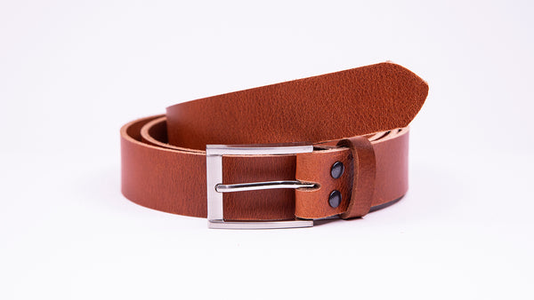 Genuine Tan Brown Leather Chinos Belt - Rectangular Chrome Buckle