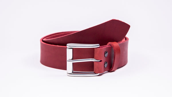Genuine Red Leather Jeans Belt - Roller Satin Silver Buckle - Worldbelts Ltd