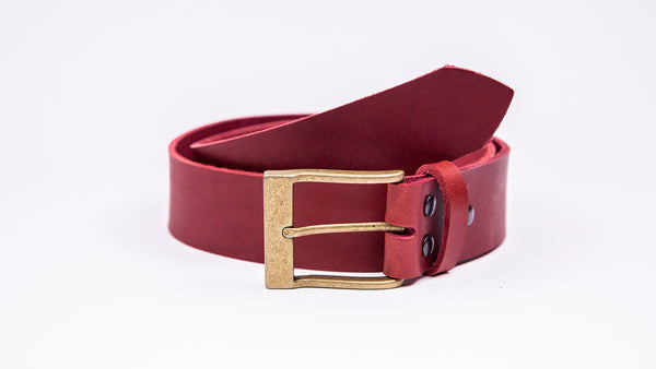 Genuine Red Leather Jeans Belt - Rectangular Gold Buckle - Worldbelts Ltd