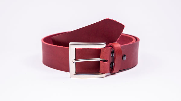 Genuine Red Leather Jeans Belt - Square Satin Silver Buckle - Worldbelts Ltd