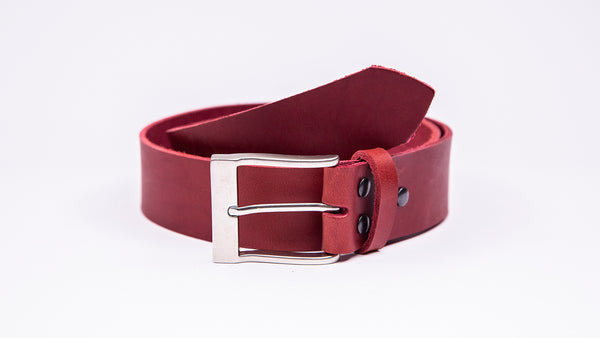 Genuine Red Leather Jeans Belt - Rectangular Satin Silver Buckle - Worldbelts Ltd