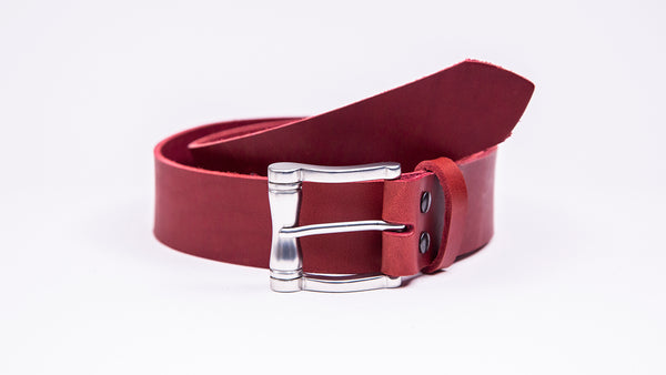 Genuine Red Leather Jeans Belt - Chunky Satin Silver Buckle - Worldbelts Ltd