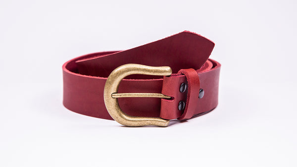 Genuine Red Leather Jeans Belt - Round Gold Buckle - Worldbelts Ltd