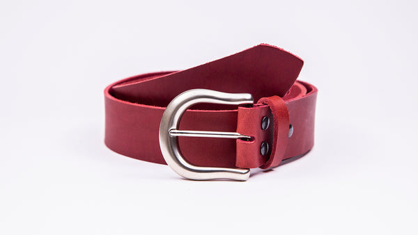 Genuine Red Leather Jeans Belt - Round Satin Silver Buckle - Worldbelts Ltd