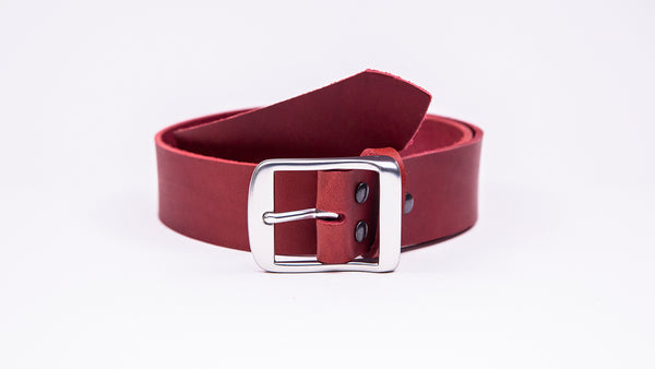 Genuine Red Leather Jeans Belt - Full Satin Silver Buckle - Worldbelts Ltd