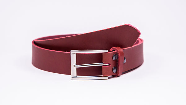 Genuine Red Leather Chinos Belt - Rectangular Chrome Buckle - Worldbelts Ltd