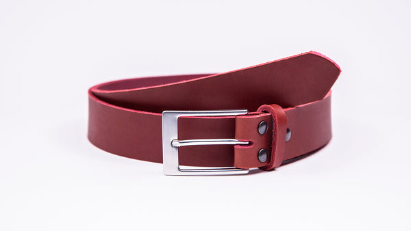 Genuine Red Leather Chinos Belt - Rectangular Satin Silver Buckle - Worldbelts Ltd