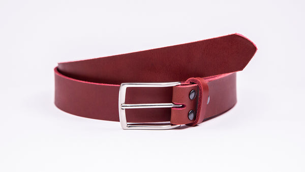 Genuine Red Leather Chinos Belt - Thin Rectangular Chrome Buckle - Worldbelts Ltd