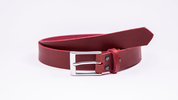 Red Leather Suit Belt - Rectangular Satin Buckle - Worldbelts Ltd