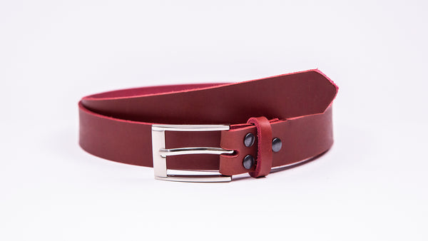 Red Leather Suit Belt - Rectangular Chrome Buckle - Worldbelts Ltd