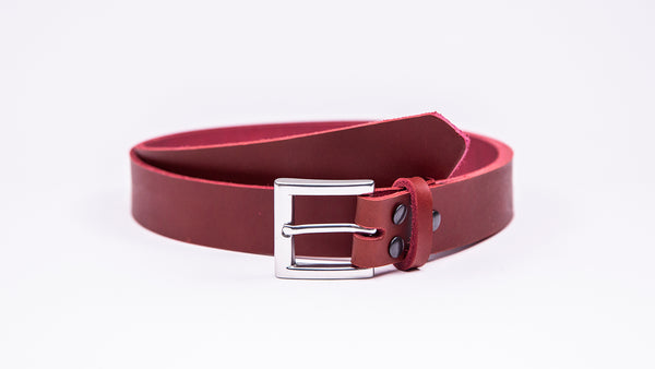Red Leather Suit Belt - Square Satin Buckle - Worldbelts Ltd