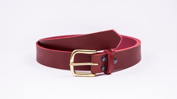 Red Leather Suit Belt - Square Brass Buckle - Worldbelts Ltd
