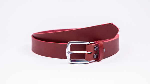 Red Leather Suit Belt - Round/Square Satin Buckle - Worldbelts Ltd