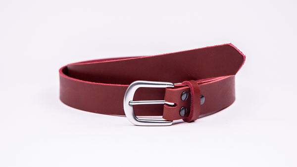 Red Leather Suit Belt - Round Satin Buckle - Worldbelts Ltd