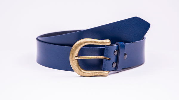 Genuine Blue Leather Jeans Belt - Round Gold Buckle - Worldbelts Ltd