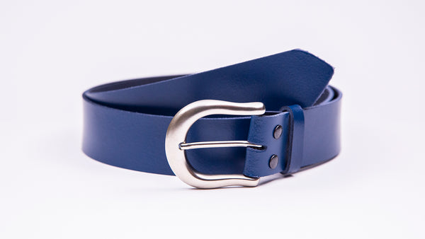 Genuine Blue Leather Jeans Belt - Round Satin Silver Buckle - Worldbelts Ltd
